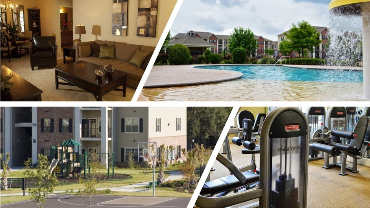 image of a furnished corporate apartments, the swimming pool, the basketball court and a fitness center at lafayette gardens apartments - apartments in lafayette la