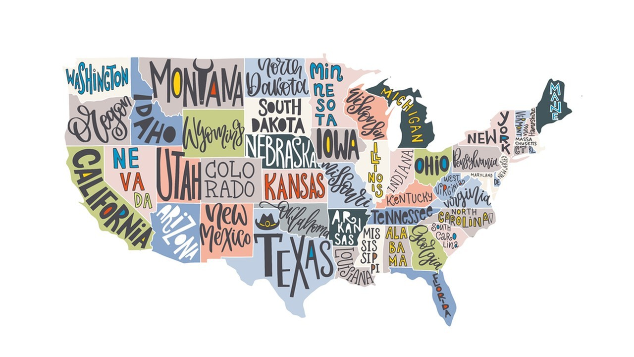 image of the United States with each state written in a different fun font - lafayette louisiana apartments - lafayette gardens